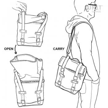 キャンバスサイドバッグ+ Guzzi V9ボビーバーSXフレーム